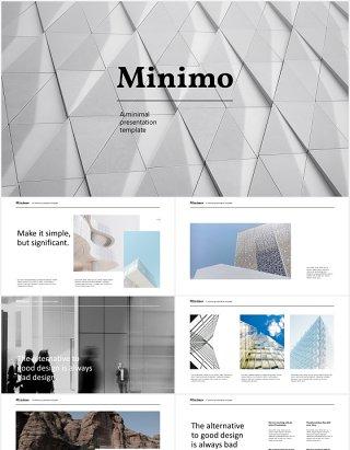 现代商务简约公司宣传PPT模板minimo modern minimal powerpoint template