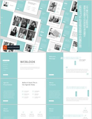 网页版式PPT幻灯片演示模板Weblook Powerpoint Template