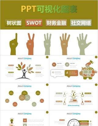 财务金融树状图SWOT社交网络环保信息可视化PPT信息图表