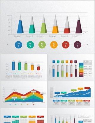 柱状图折线图条形图数据分析图表PPT动态元素素材
