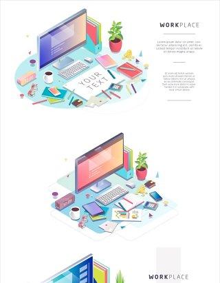 6款2.5D插画办公设备场景EPS源文件