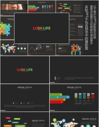 实用工作通用PPT拼图信息图表模板LUSH LIFE Powerpoint