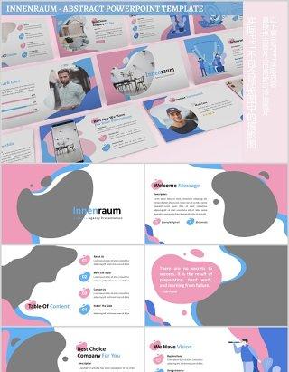 蓝粉色创意图片排版教育行业PPT模板Innenraum - Abstract Powerpoint Template