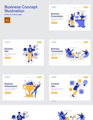 10套商业商务市场业务概念人物插画AI矢量素材用于UI界面设计