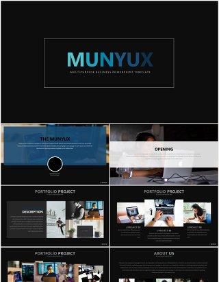 高端商务工作上升阶梯数据图表PPT模板munyux powerpoint