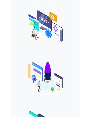 2.5D插画办公职场场景插图