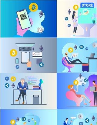 2.5D插画区块链货币金融加密技术场景插图人物矢量素材适用于UI界面设计及海报印刷等