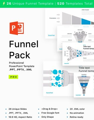 PPT漏斗信息图表 PowerPoint Funnel shape
