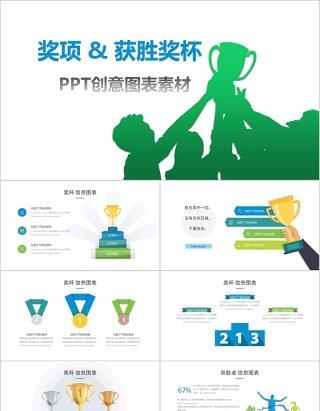 奖项获胜奖杯PPT创意图表素材