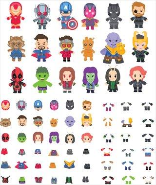 超级英雄人物插画AI EPS PSD sketch矢量素材
