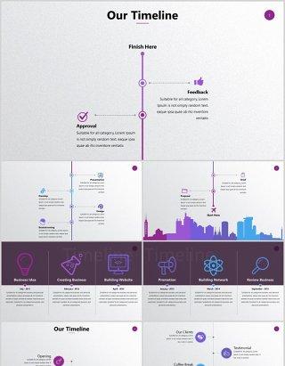 圆形时间线竖列时间轴公司项目发展时间表带照片PPT可编辑素材元素