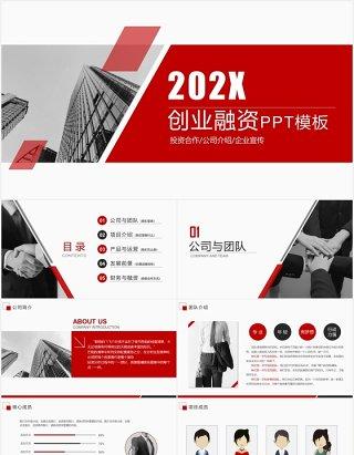 简约红色商业融资创业计划书PPT模板