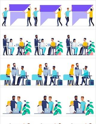 15套扁平化团队合作工作场景插画AE动画模板素材