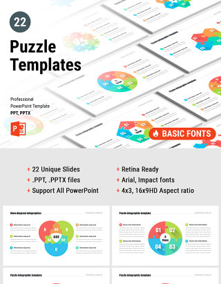 多形式拼图PPT信息图表模板 Puzzle pieces PowerPoint Templates