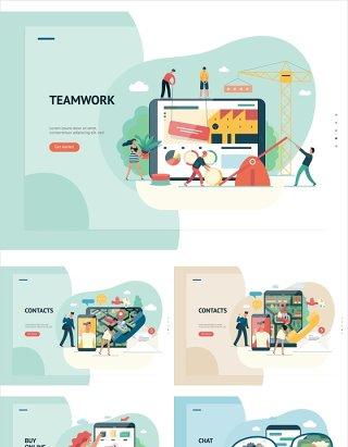 84组扁平化各行业职场商业插画人物矢量素材适用于UI界面设计及海报印刷