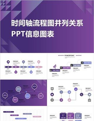 时间轴流程图并列关系PPT信息图表