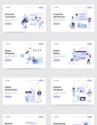 10套社交媒体和商业人物插画AI素材适用于WEB手机APP界面UI设计