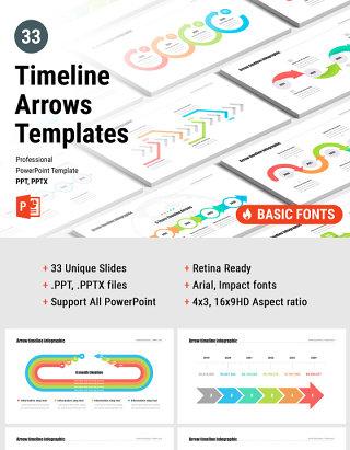 时间轴箭头PPT模板演示 timeline arrows templates for powerpoint