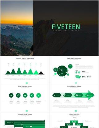 绿色简约商务箭头阶梯流程图图表PPT模板素材fifteen powerpoint template