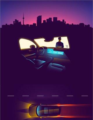 深紫色智能汽车插画AI矢量素材