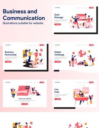 商务沟通信息业务人物办公场景矢量素材插画