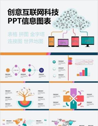 原创创意互联网科技连接PPT信息图表