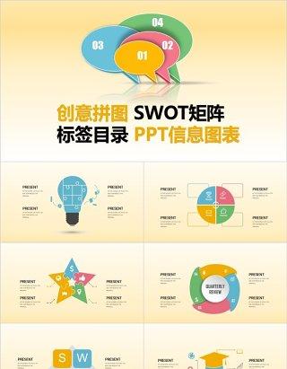 创意拼图SWOT矩阵标签目录PPT信息图表