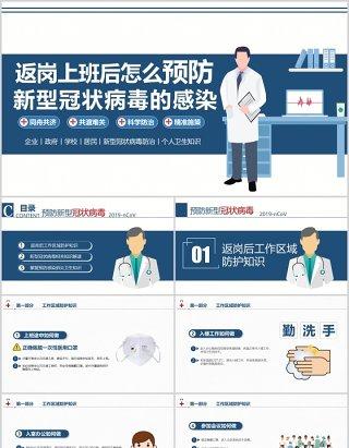 返岗上班后怎么预防新型冠状病毒的感染防控疫情PPT模板