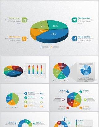 圆形百分比饼图仪表盘信息图表动态PPT元素数据可视化素材