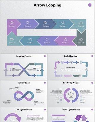 循环步骤关系流程图信息图表PPT素材动态元素