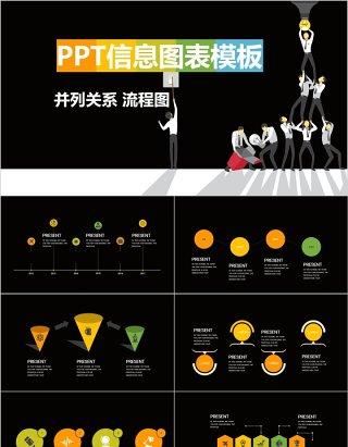 原创创意并列关系流程图PPT信息图表模板