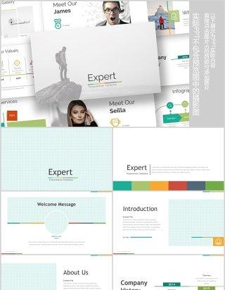 多彩公司介绍可视化信息图表PPT模板版式排版Expert - Powerpoint Template