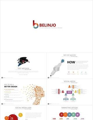 创意商务图形数据可视化图表PPT模板素材belinjo powerpoint