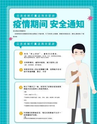 众志成城疫情防控复工知识宣传海报PSD模板素材
