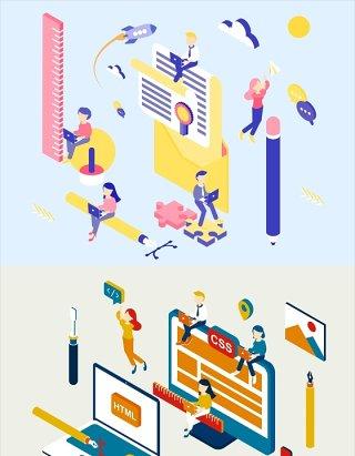 项目启动流程概念插画AI矢量素材品牌创造网页制作领导团队合作