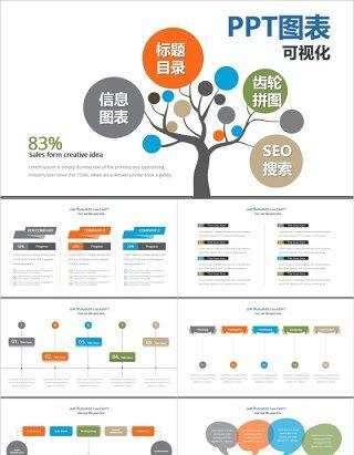标题目录齿轮拼图SEO搜索可视化PPT信息图表元素