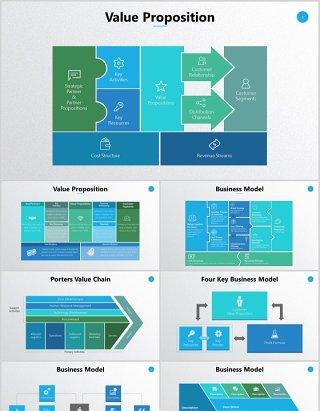 商业模式价值主张框架搬运工价值链PPT可编辑元素图表