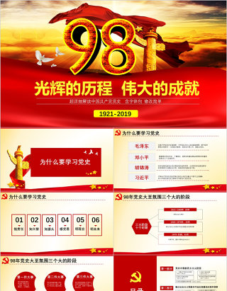 原创中国共产党党史建党98周年党课学习ppt-版权可商用
