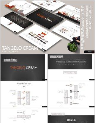 高端公司项目时间节点安排团队组织架构图PPT图片排版设计模板TANGELO CREAM Powerpoint