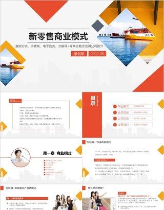 橙红色新零售商业模式PPT模板
