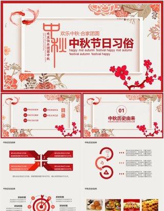 红色简约中国传统节日中秋佳节习俗文化动态PPT模板