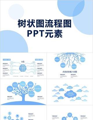 简约树状图流程图PPT元素