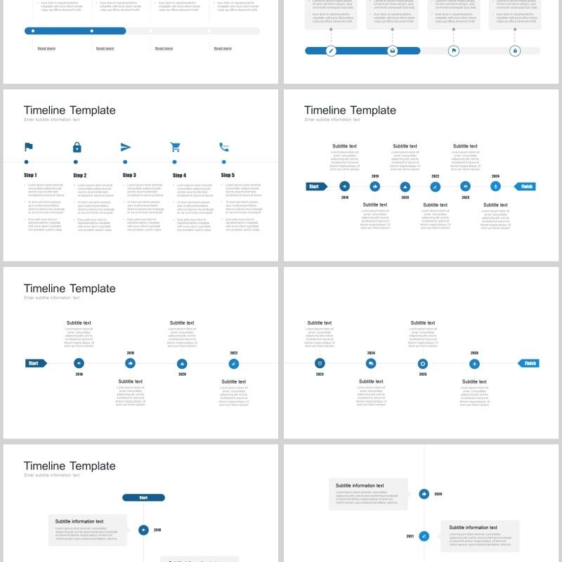 7套色系日程表时间轴企业事件历程PPT模板timeline powerpoint template