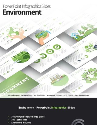 11套色系绿色生态环境PPT信息图形幻灯片演示Environment - PowerPoint Infographics Slides