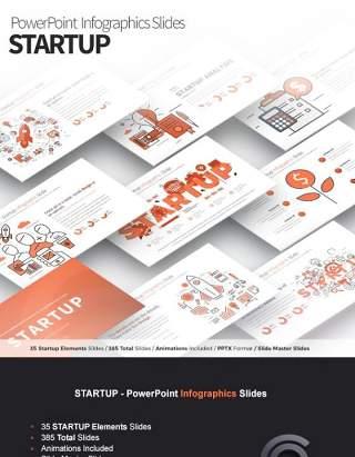 11套色系项目启动PPT信息图形幻灯片Startup - PowerPoint Infographics Slides