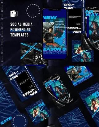 蓝色简洁手机竖版社交媒体杂志PPT版式模板不含照片Social Media PowerPoint Template