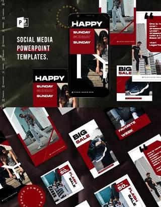 暗红色手机竖版社交媒体杂志PPT版式模板Social Media PowerPoint Template