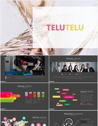 拼图台阶创意图形图表PPT模板TELUTELU