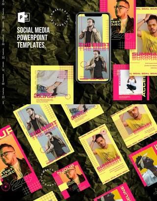 黄色手机竖版社交媒体PPT模板Social Media PowerPoint Template