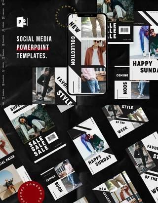 简约手机移动端竖版社交媒体杂志PPT版式模板不含照片Social Media PowerPoint Template